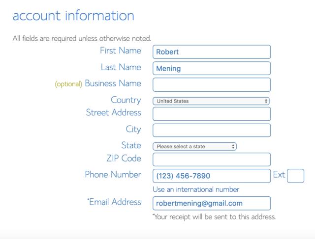 Thông tin tài khoản của bạn