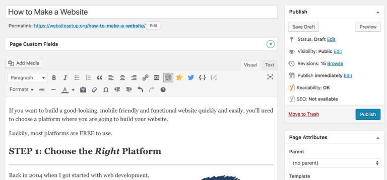 WordPress chỉnh sửa một trang