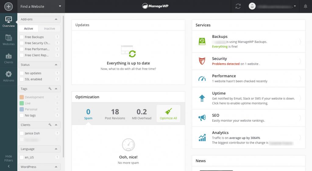 Bảng điều khiển ManageWP