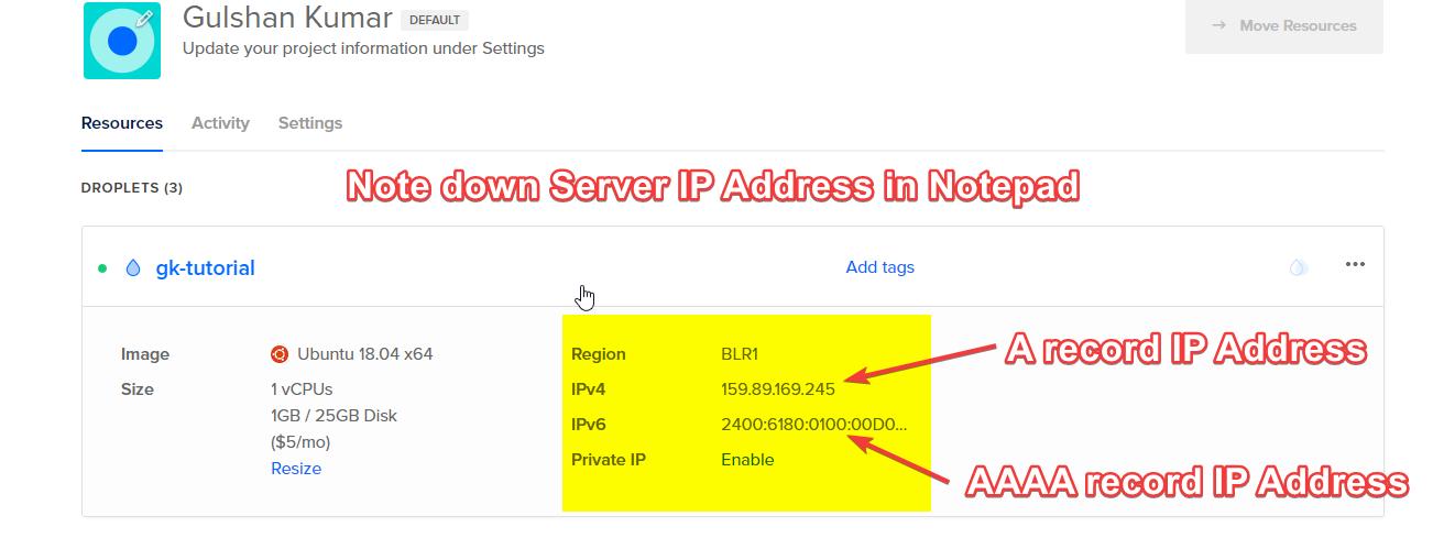 Lưu ý xuống Địa chỉ IP của máy chủ