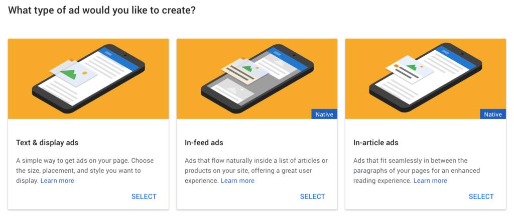 Một lựa chọn của các tùy chọn quảng cáo khác nhau.