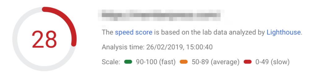 Một ví dụ về kết quả tốc độ tải của Google.