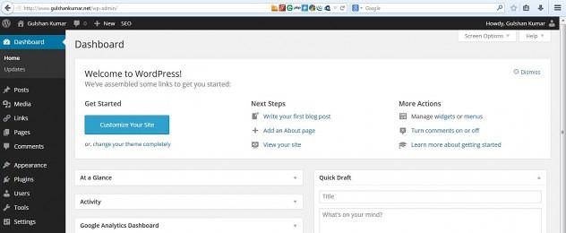 Bảng điều khiển WordPress