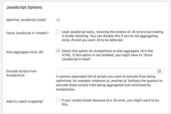 Tùy chọn JavaScript nâng cao