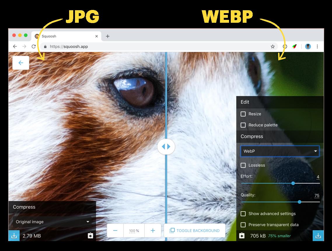 So sánh JPG và WebP