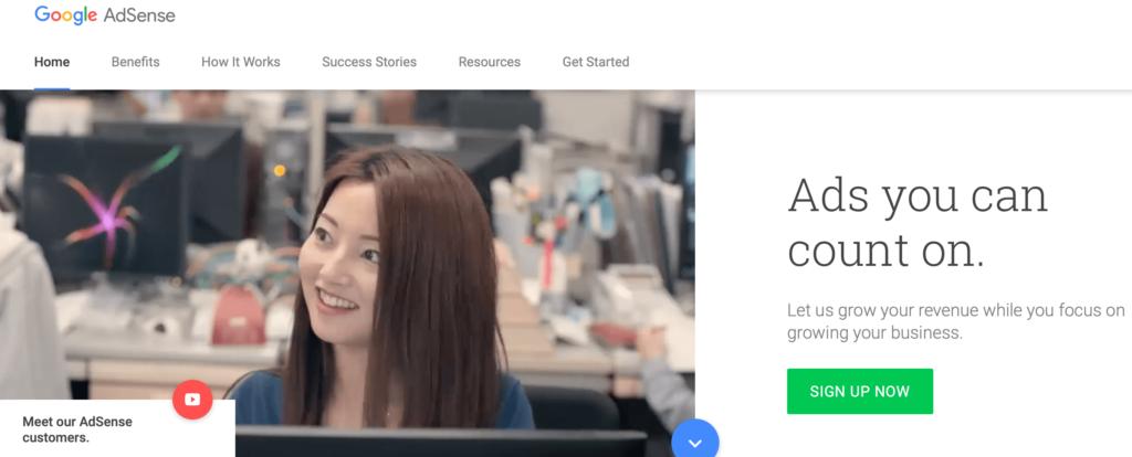 Trang web Google AdSense.