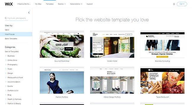 Một lựa chọn các mẫu trang web kinh doanh được cung cấp bởi Wix