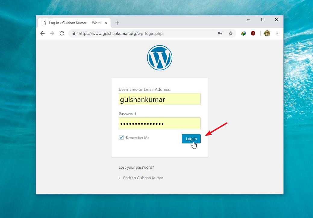 Nhập tên người dùng và mật khẩu để đăng nhập WordPress