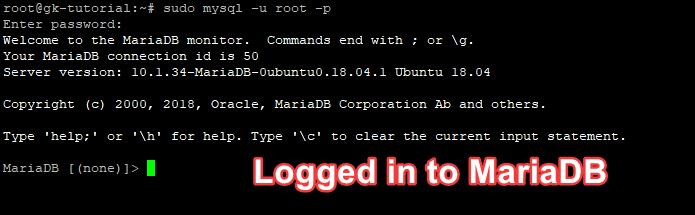 đăng nhập vào MariaDB