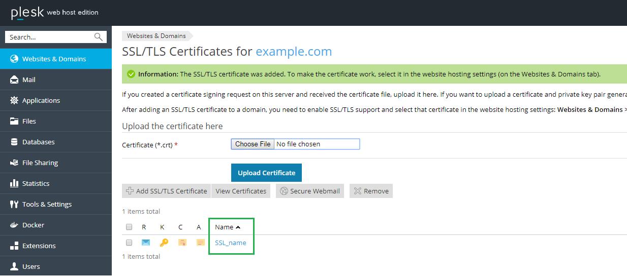 Tên chứng chỉ SSL được thêm vào