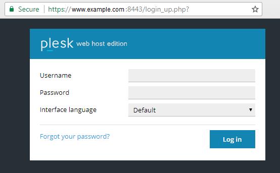 Trang đăng nhập Plesk