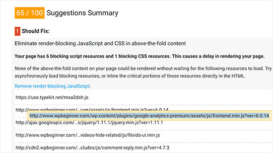 Nhận URL JavaScript và Biểu định kiểu từ công cụ Google PageSpeed