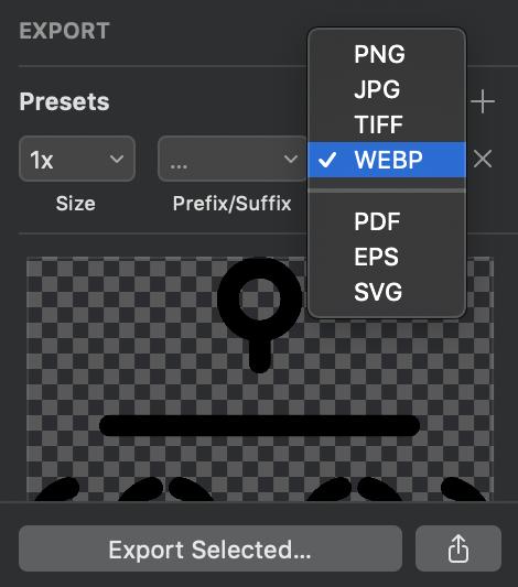 Ảnh chụp màn hình của chương trình SKetch hiển thị xuất dưới dạng WebP