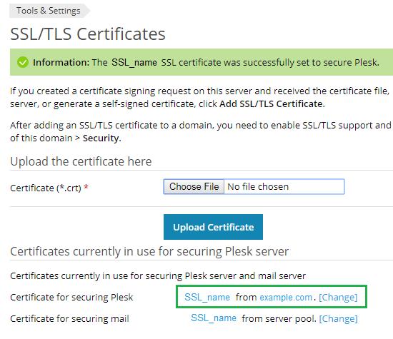 Chứng chỉ SSL được thêm vào Plesk an toàn