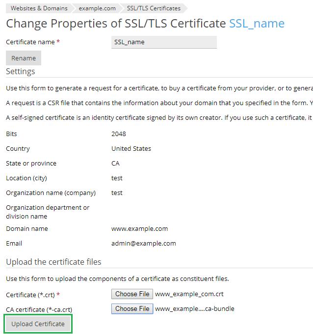 tải lên chứng chỉ ssl dưới dạng tệp
