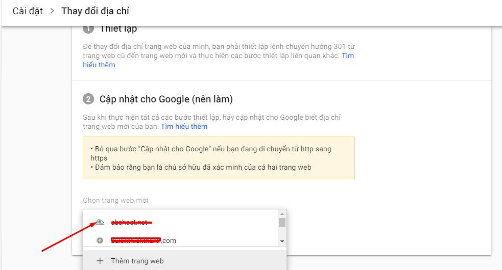 Khai báo Google Search Console khi bạn chuyển đổi tên miền